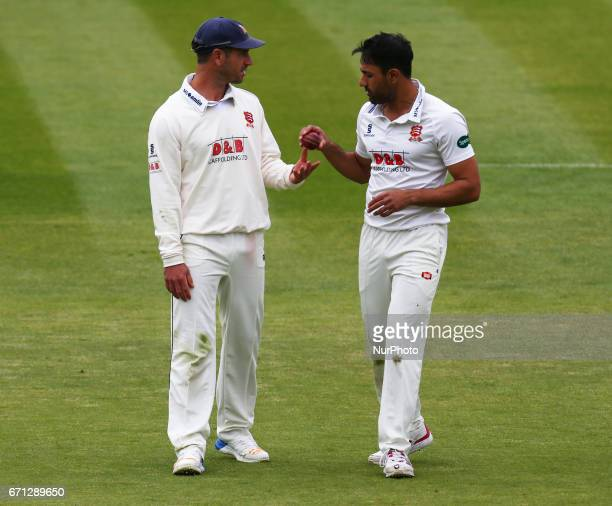 LR Essex's Ryan ten Doeschate and Essex's Ravi Bopara during Specsavers County Championship Division One match between Middlesex CCC and Essex CCC at...