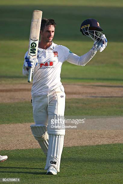 Essex's Ryan ten Doeschate celebrates his century on his way to helping the team win promotion during the Specsavers County Championship division two...