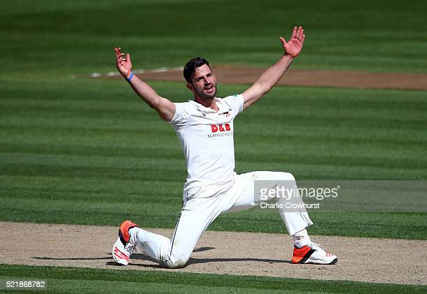 Essex's Ryan ten Doeschate celebrates taking the wicket of Sussex's Chris Nash during day one of the Specsavers County Championship Division Two...