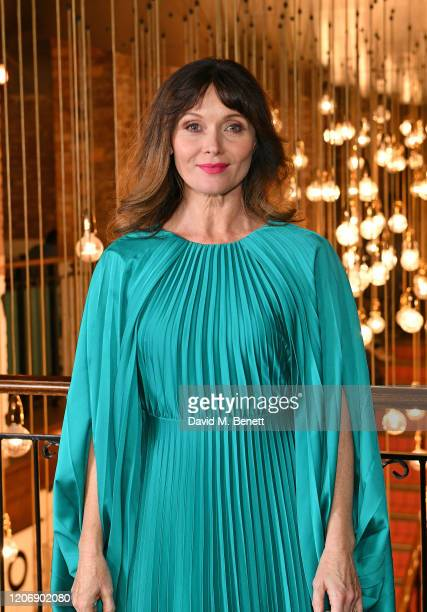 "Essie Davis attends the UK Premiere of ""True History Of The Kelly Gang"" at the Picturehouse Central on February 17, 2020 in London, England."