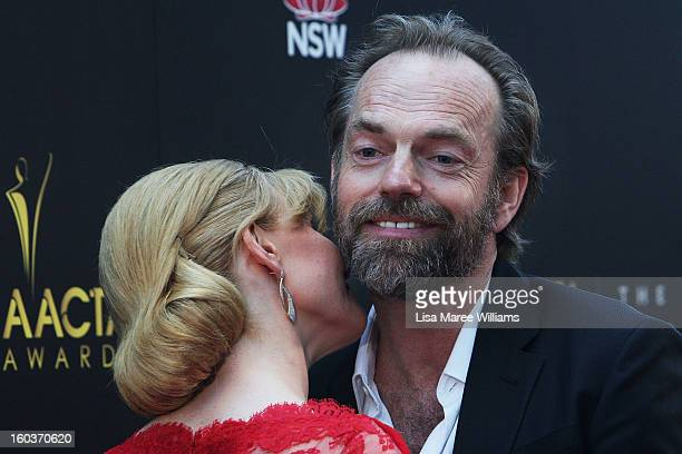 Essie Davis greets Hugo Weaving at the 2nd Annual AACTA Awards at The Star on January 30 2013 in Sydney Australia
