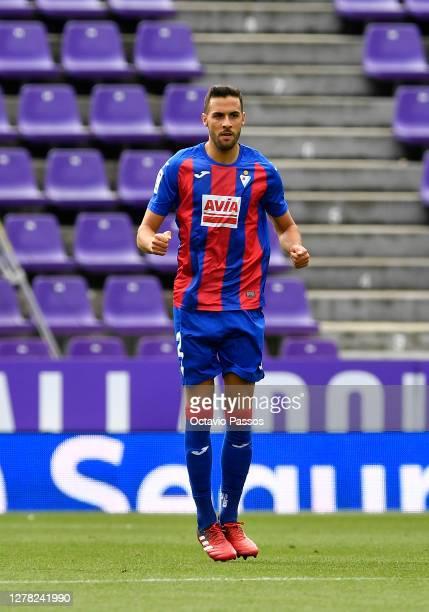 Estaban Burgos of Eibar celebrates after scoring his sides first goal during the La Liga Santander match between Real Valladolid CF and SD Eibar at...