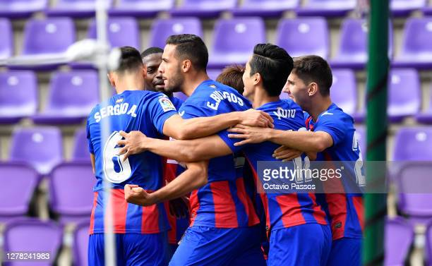 Estaban Burgos of Eibar celebrates with teammates after scoring his sides first goal during the La Liga Santander match between Real Valladolid CF...