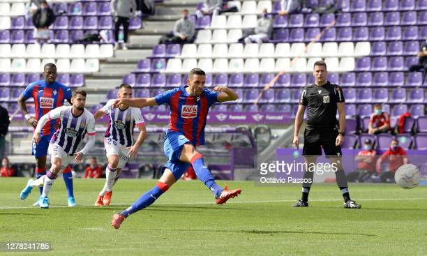 Estaban Burgos of Eibar scores his sides first goal during the La Liga Santander match between Real Valladolid CF and SD Eibar at Estadio Municipal...