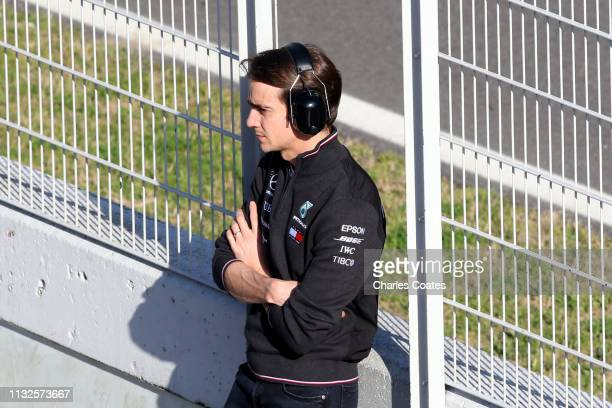 Estaban Gutierrez of Mexico and Mercedes GP looks on from the pitwall during day two of F1 Winter Testing at Circuit de Catalunya on February 27 2019...