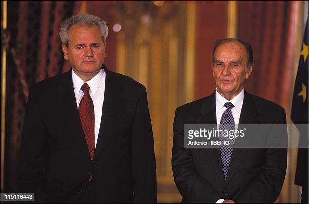 Establishment of diplomatic relations between Serbia and BosniaHerzegovina in Paris France on October 03 1996 Slobodan Milosevic and Alija Izetbegovic