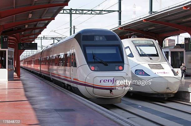 Estación de Chamartín - Northern Madrid main station. Medium-distance and longer distance high speed locomotive+TALGO coach Renfe trains.