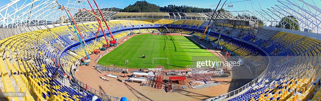 Estadio Municipal de Concepción Alcaldesa Ester Roa Rebolledo is seen during restoration prior to Copa America Chile 2015 at Concepcion, Chile on April 17, 2015.