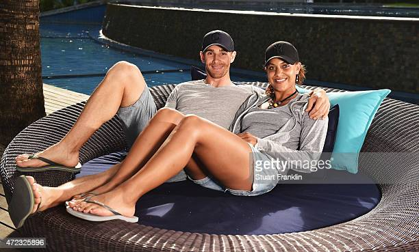 Estanislao Goya of Argentina relaxes with his girlfriend and Ladies European Tour golfer Henrietta Zuel of England prior to the start of the AfrAsia...