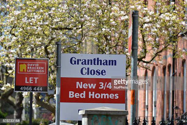 Estate agent signs advertising houses and businesses for sale and to let near Portobello bridge area as more and more signs can be seen around Dublin...