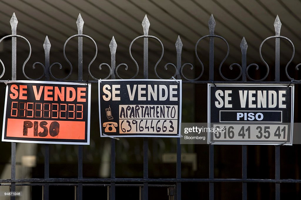 Estate Agents Signs Advertise Apartments For Sale In Madrid