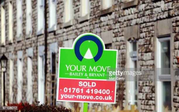 A estate agents sold sign is displayed outside a house on February 25 2010 in Radstock England As the UK gears up for one of the most hotly contested...