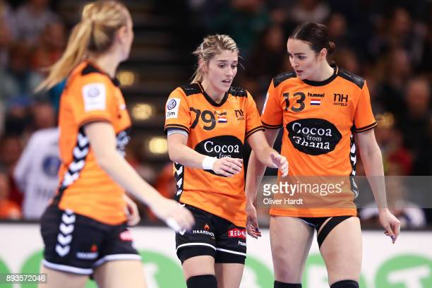 Estavana Polman and Yvette Broch of Netherlands gesticulated during the Championship Semi Final between match between Netherlands and Norway at...