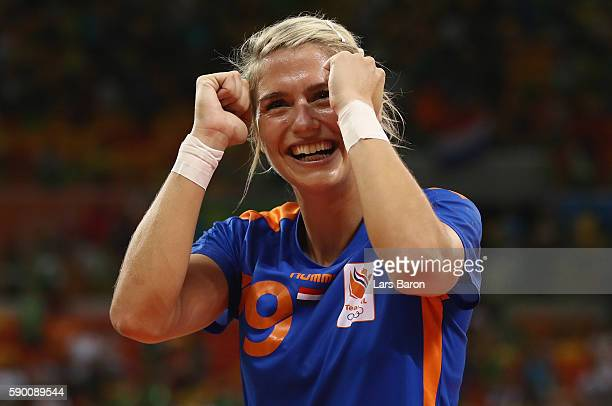 Estavana Polman of Netherlands celebrates after winning the Womens Quarterfinal match between Brazil and Netherlands on Day 11 of the Rio 2016...