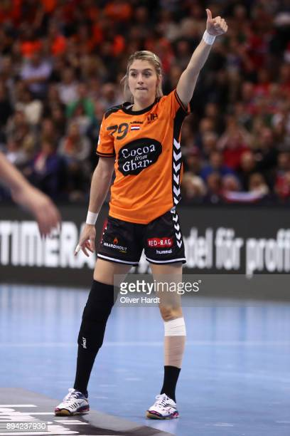 Estavana Polman of Netherlands gesticulated during the IHF Women's Handball World Championship 3rd place match between Netherlands and Sweden at...
