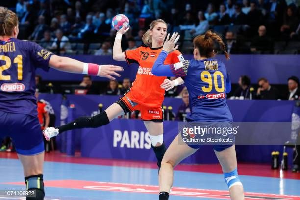 Estavana Polman of Netherlands is shooting the ball against Ana-Maria Dragut of Romania during the EHF Women's Euro 2018 Bronze Medal Play-off...