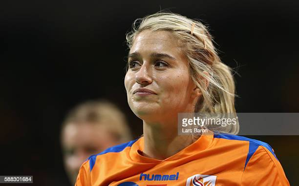 Estavana Polman of Netherlands smiles during the Womens Preliminary Group A match between Norway and Angola at Future Arena on August 10, 2016 in Rio...