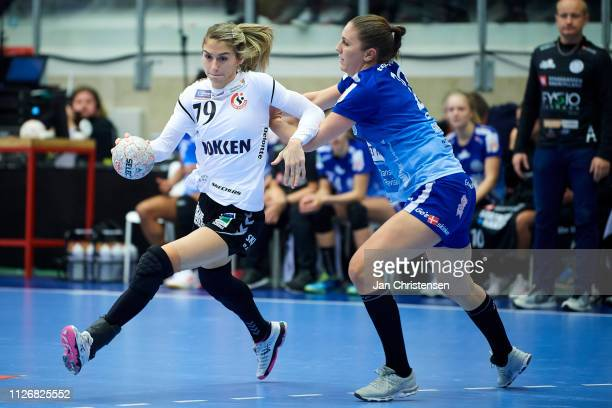 Estavana Polman of Team Esbjerg and Camilla Dalby of Randers HK challenge for the ball during the Santander Final4 3.- 4. Place match between Randers...