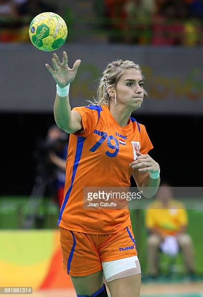 Estavana Polman of the Netherlands in action during the Women's semifinal handball match between France and The Netherlands on day 13 of the Rio 2016...