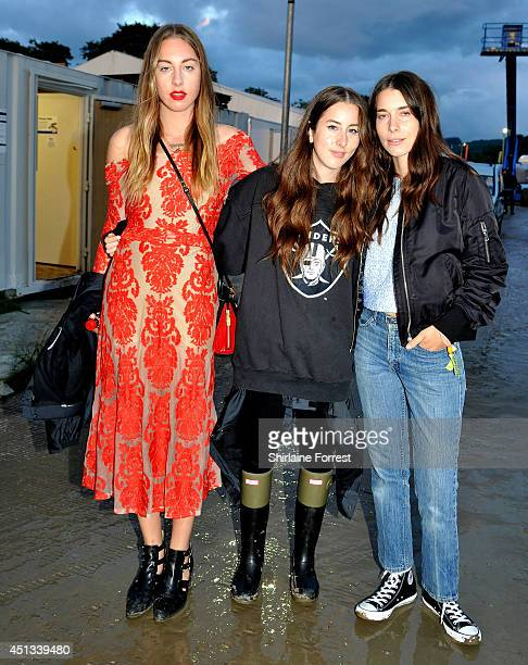 Este Haim Alana Haim and Danielle Haim of Haim seen backstage on Day One of the Glastonbury Festival at Worthy Farm on June 27 2014 in Glastonbury...