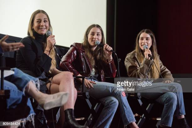 Este Haim Alana Haim and Danielle Haim of HAIM speak during a pop up screening of Paul Thomas Anderson's 'Valentine' at Alamo Drafthouse Cinema on...