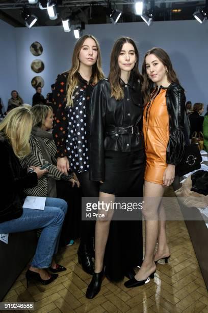 Este Haim Danielle Haim and Alana Haim from the band Haim attend the JW Anderson show during London Fashion Week February 2018 at Yeomanry House on...