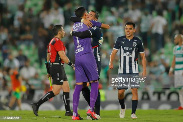 Esteban Andrada and Rogelio Funes Mori of Monterrey celebrate after winning the 10th round match between Santos Laguna and Monterey as part of the...