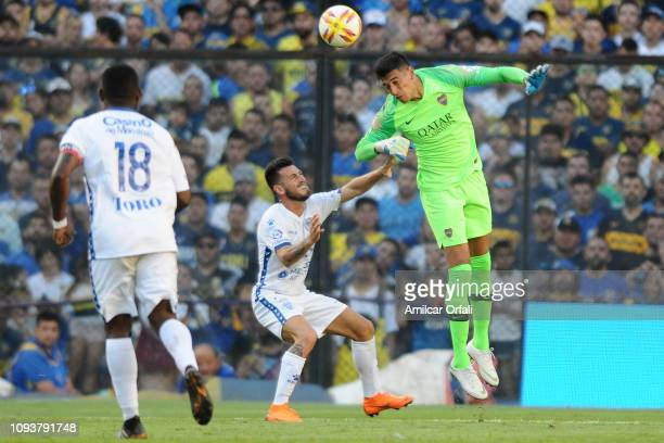 Esteban Andrada goalkeeper of Boca Juniors heads the ball during a match between Boca Juniors and Godoy Cruz as part of Superliga 2018/19 at Estadio...