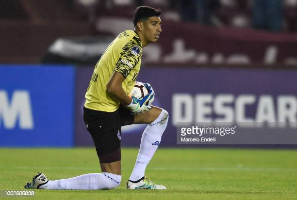 Esteban Andrada goalkeeper of Lanus catches the ball during a second stage match between Lanus and Junior as part of Copa CONMEBOL Sudamericana 2018...