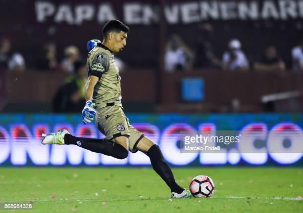 Esteban Andrada goalkeeper of Lanus kicks the ball during a second leg match between Lanus and River Plate as part of the semifinals of Copa CONMEBOL...