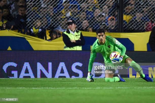Esteban Andrada of Boca Juniors catches the ball during a second leg semifinal match between Boca Juniors and Argentinos Juniors as part of Copa de...