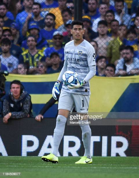 Esteban Andrada of Boca Juniors controls the ball during a match between Boca Juniors and Union as part of Superliga 2019/20 at Estadio Alberto J...