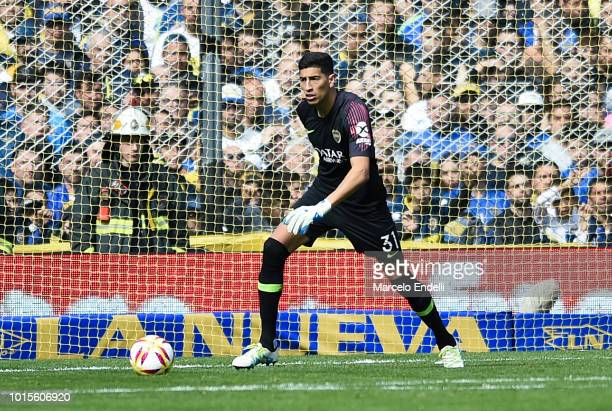 Esteban Andrada of Boca Juniors drives the ball during a match between Boca Juniors and Talleres as part of Superliga Argentina 2018/19 at Estadio...