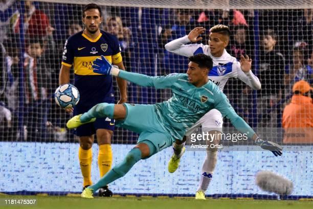 Esteban Andrada of Boca Juniors during a match between Velez and Boca Juniors as part of Superliga Argentina 2019/20 at Jose Amalfitani Stadium on...