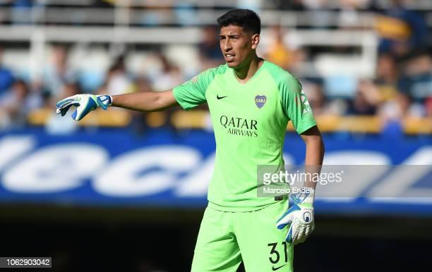 Esteban Andrada of Boca Juniors gestures prior toa match between Boca Juniors and Patronato as part of Superliga 2018/19 at Estadio Alberto J Armando...