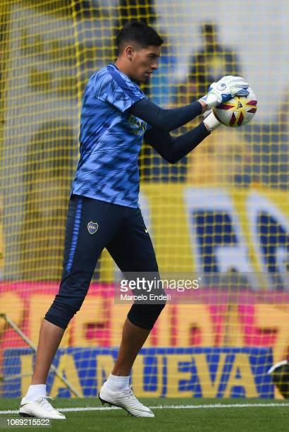 Esteban Andrada of Boca Juniors in action during a warm up before a match between Boca Juniors and Patronato as part of Superliga 2018/19 at Estadio...