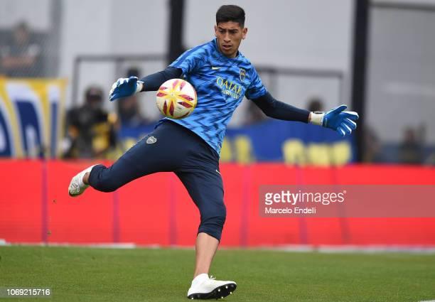 Esteban Andrada of Boca Juniors kicks the ball during a warm up before a match between Boca Juniors and Patronato as part of Superliga 2018/19 at...