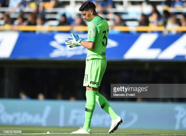 Esteban Andrada of Boca Juniors looks down during a match between Boca Juniors and Patronato as part of Superliga 2018/19 at Estadio Alberto J...