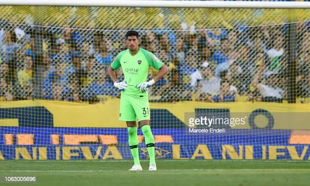 Esteban Andrada of Boca Juniors looks on during a match between Boca Juniors and Patronato as part of Superliga 2018/19 at Estadio Alberto J Armando...