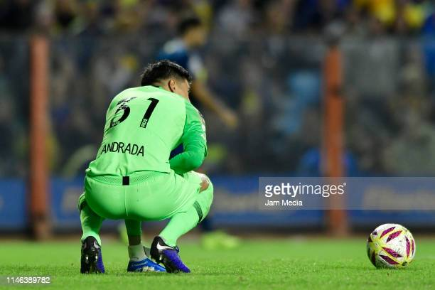 Esteban Andrada of Boca Juniors looks on during a second leg semifinal match between Boca Juniors and Argentinos Juniors as part of Copa de la...