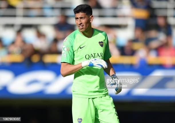 Esteban Andrada of Boca Juniors looks on prior toa match between Boca Juniors and Patronato as part of Superliga 2018/19 at Estadio Alberto J Armando...