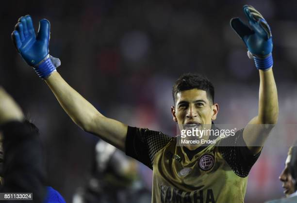 Esteban Andrada of Lanus celebrates after winning the second leg match between Lanus and San Lorenzo as part of the quarter finals of Copa Conmebol...