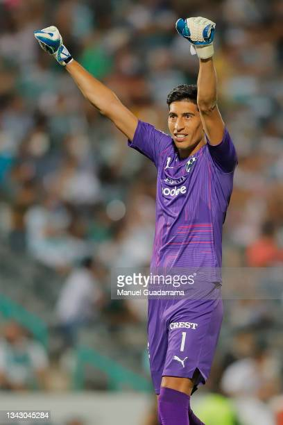 Esteban Andrada of Monterrey celebrates the first goal of his team during the 10th round match between Santos Laguna and Monterey as part of the...