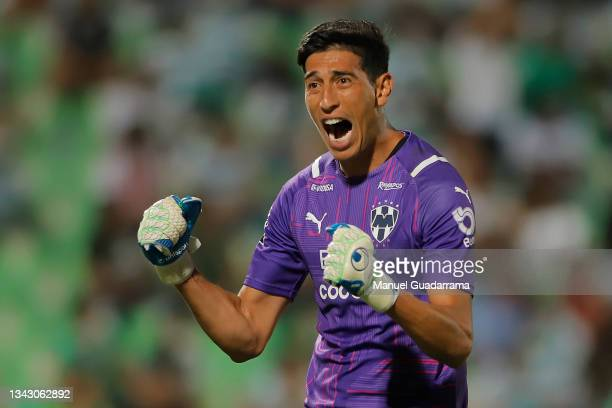 Esteban Andrada of Monterrey celebrates the second goal of his team during the 10th round match between Santos Laguna and Monterey as part of the...