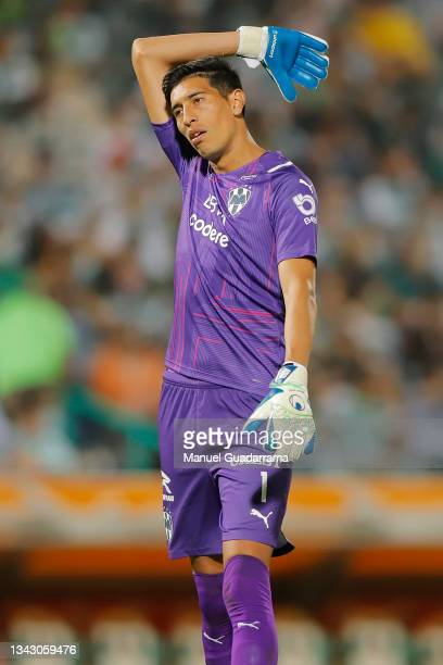Esteban Andrada of Monterrey gestures during the 10th round match between Santos Laguna and Monterey as part of the Torneo Grita Mexico A21 Liga MX...