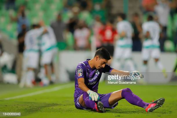 Esteban Andrada of Monterrey reacts after Santos scored the first goal during the 10th round match between Santos Laguna and Monterey as part of the...