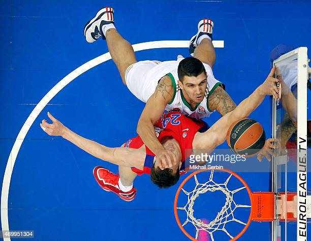 Esteban Batista, #15 of Panathinaikos Athens competes with Alexander Kaun, 24 of CSKA Moscow in action during the 2014-2015 Turkish Airlines...