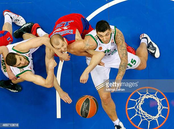 Esteban Batista, #15 of Panathinaikos Athens competes with Pavel Korobkov, #12 of CSKA Moscow in action during the 2014-2015 Turkish Airlines...