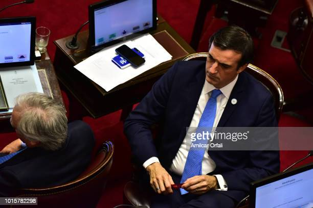 AIRES ARGENTINA AUGUST 08 Esteban Bullrich Senator for Buenos Aires City looks on while senators vote for the new abortion law on August 8 2018 in...