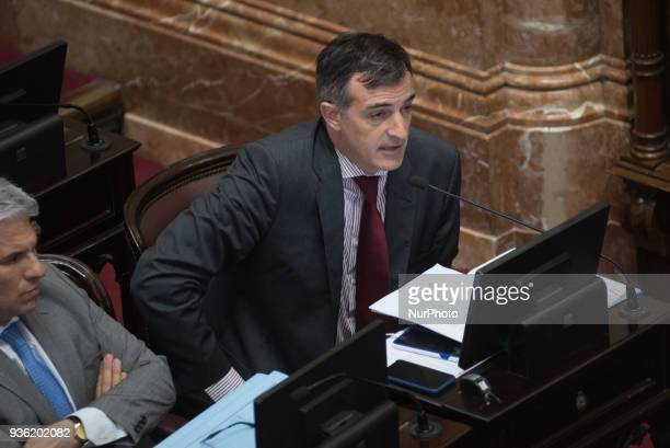 Esteban Bullrich senator for CAMBIEMOS Buenos Aires at Argentine Parliament in Buenos Aries on 21 March 2018 talks about consideration of the Labor...